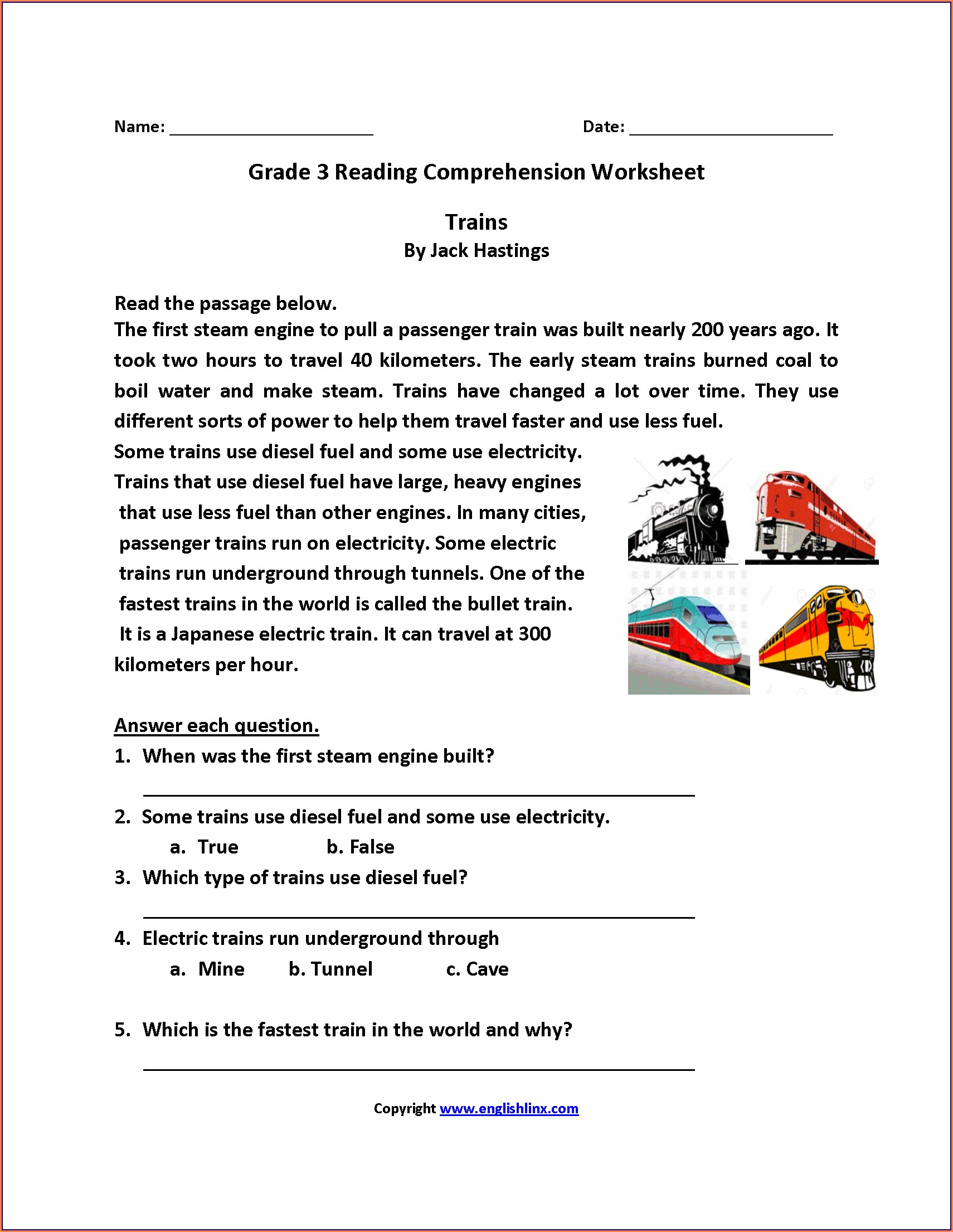 Reading Comprehension Printables For 3rd Grade