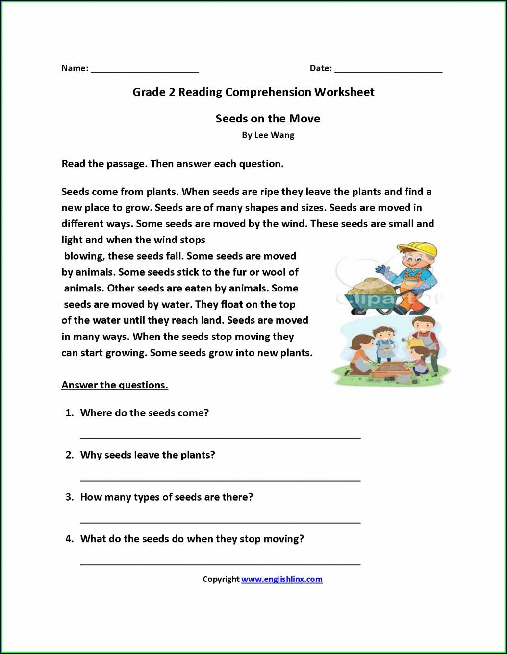 Reading Comprehension Second Grade Worksheet