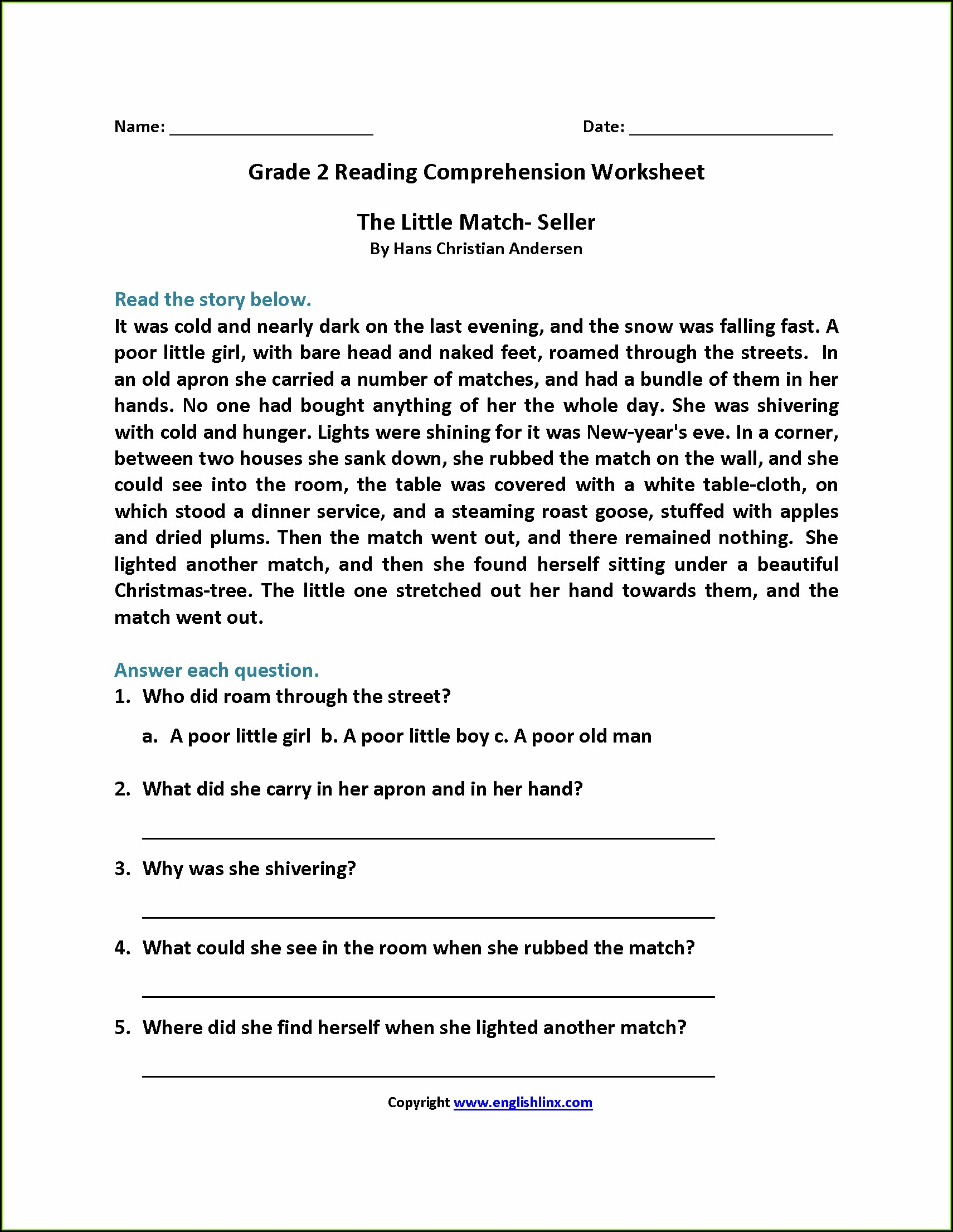 Reading Comprehension Second Grade Worksheets Free