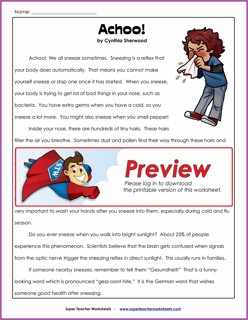 Reading Comprehension Super Teacher Worksheets Answer Key
