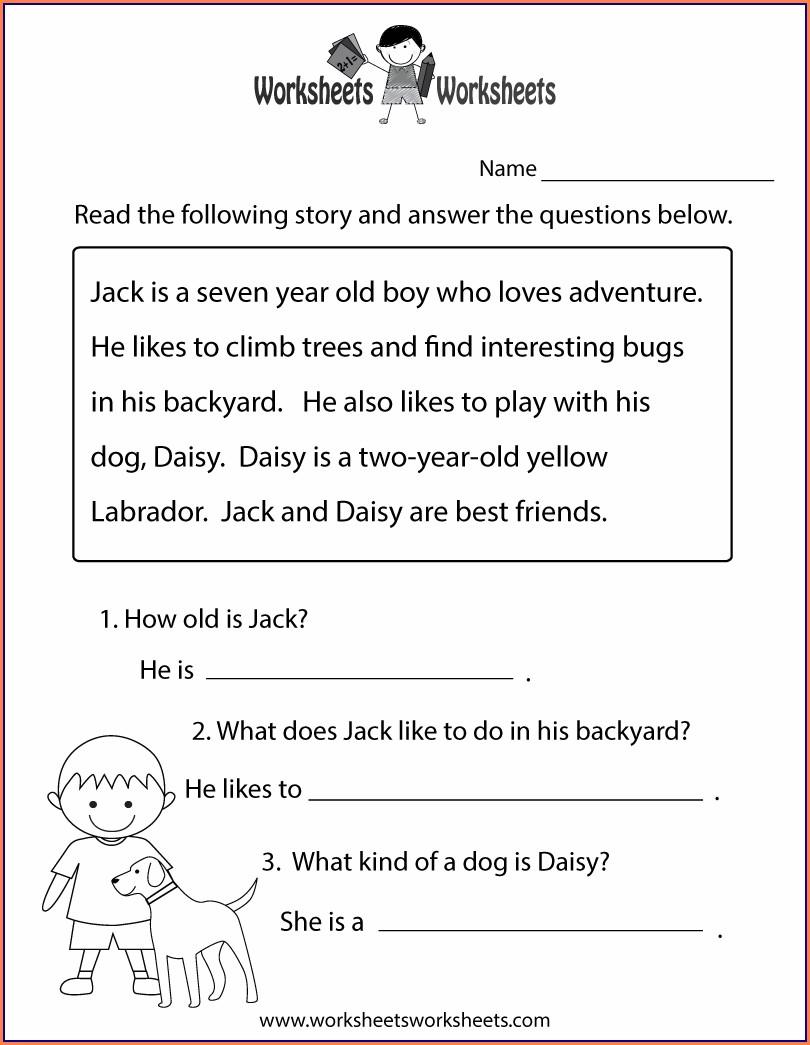 Reading Comprehension Worksheet 1st Grade