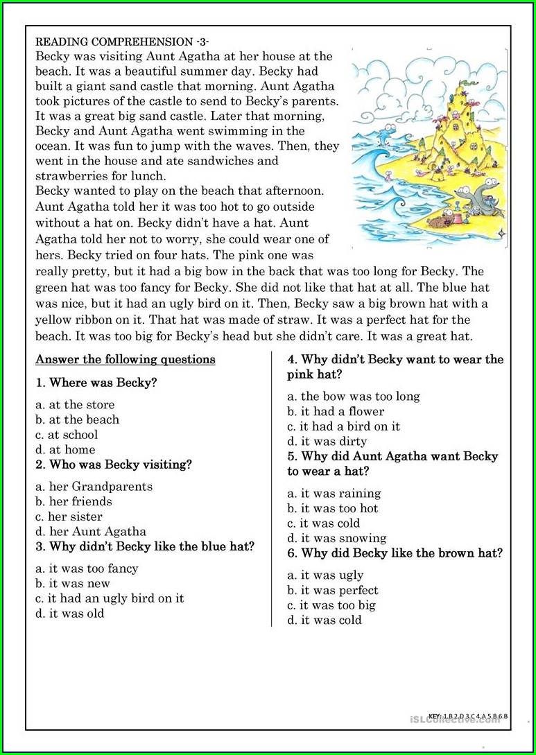 Reading Comprehension Worksheet 4th Grade Pdf