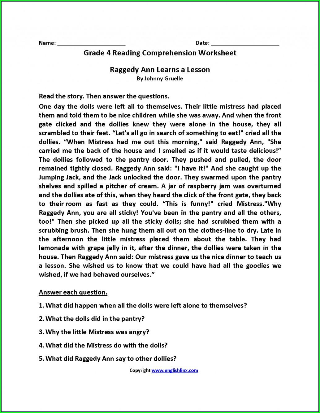 Reading Comprehension Worksheet 4th Grade