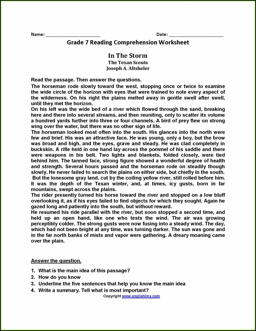 Reading Comprehension Worksheet Doc