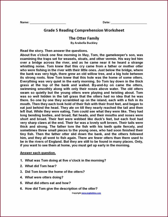 Reading Comprehension Worksheet For Grade 5