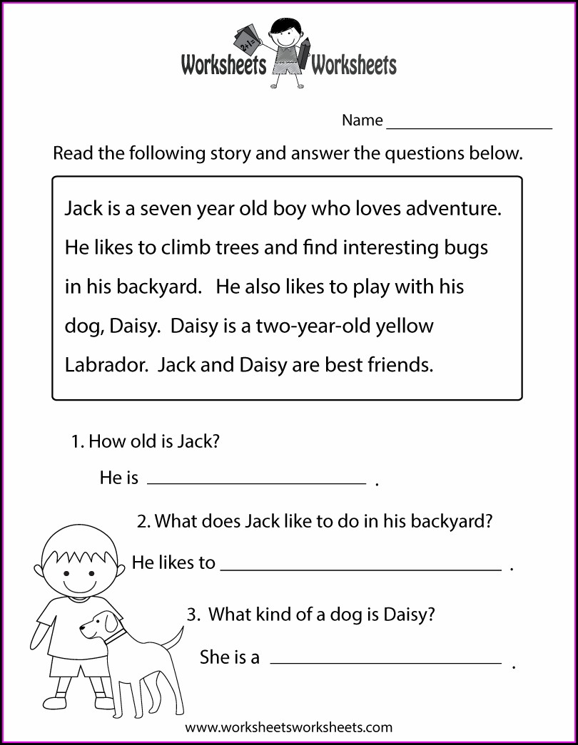 Reading Comprehension Worksheets 2nd Grade Free Printables