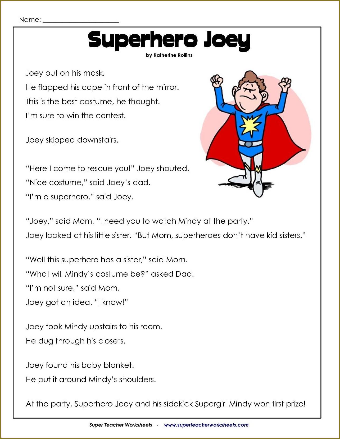 Reading Comprehension Worksheets Elementary Pdf