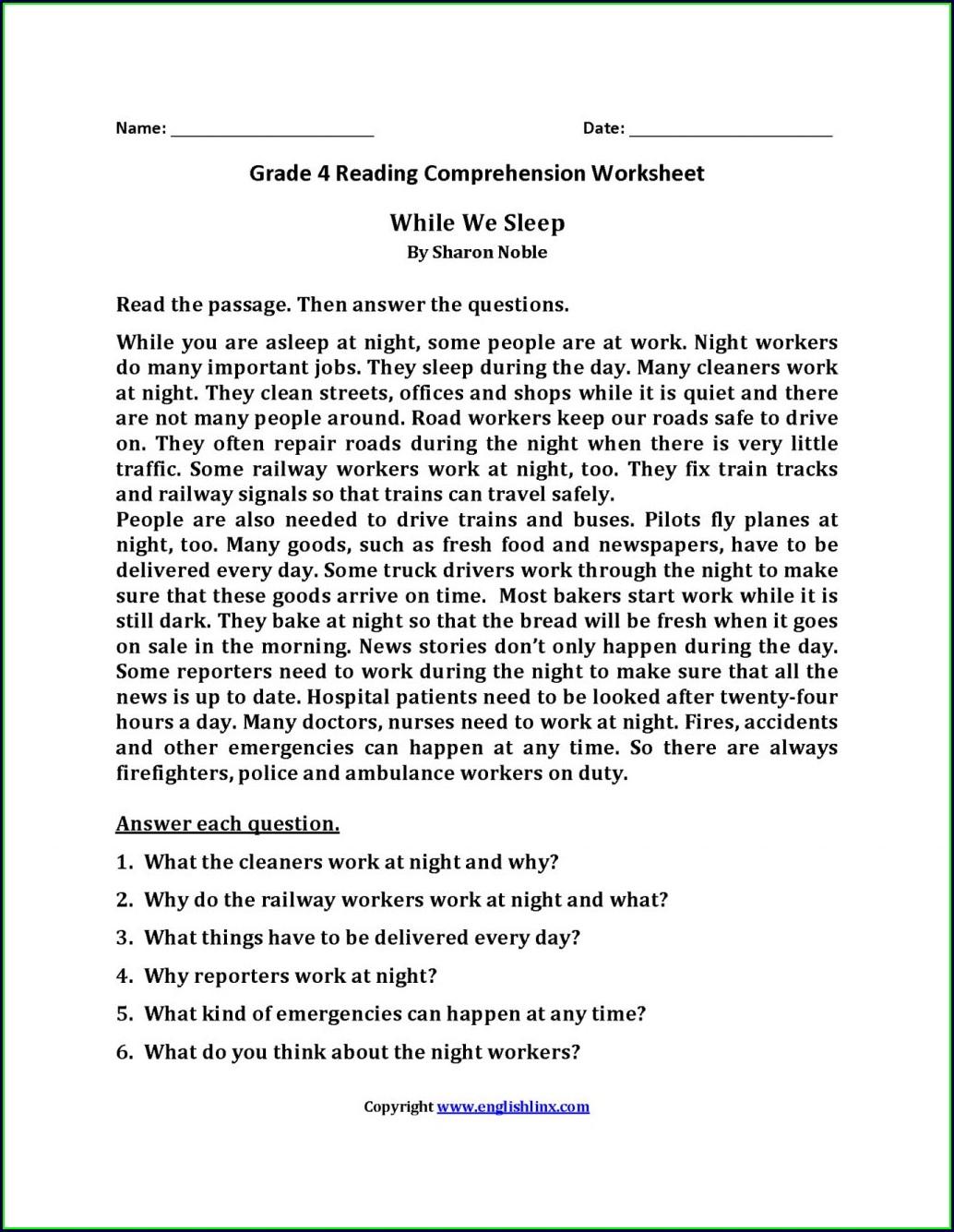 Reading Comprehension Worksheets For Grade 4 Pdf