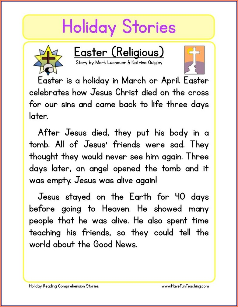 Reading Comprehension Worksheets On Easter