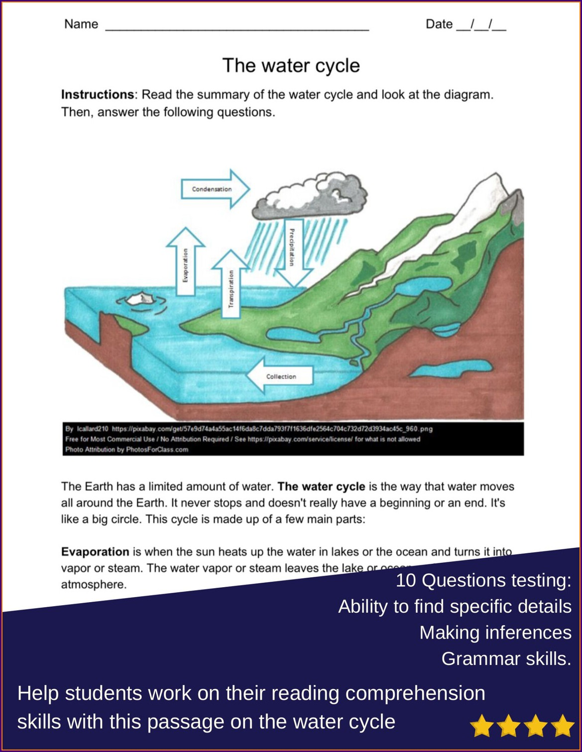 Reading Comprehension Worksheets On Water Cycle