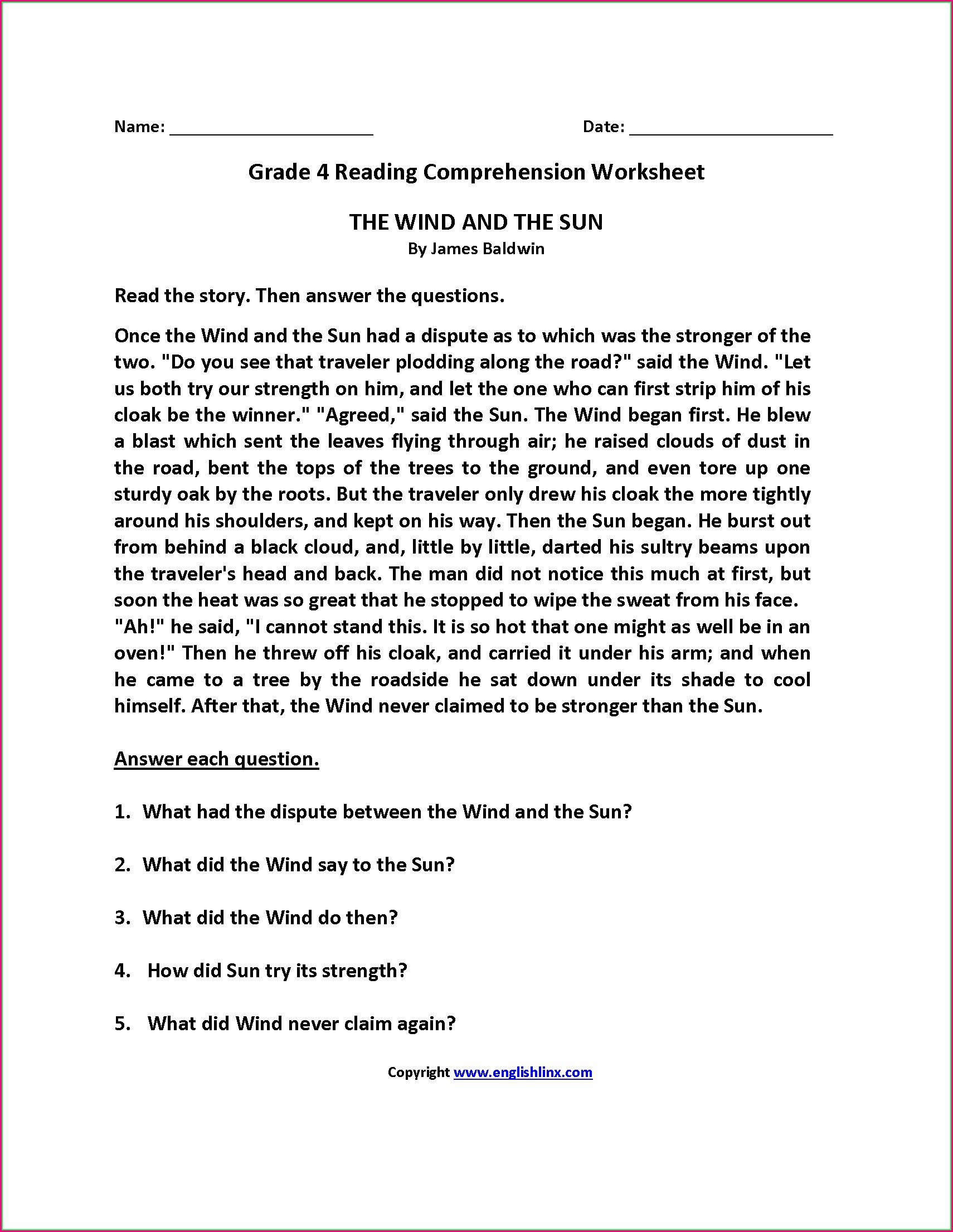 Reading Comprehension Worksheets Pdf Grade 5
