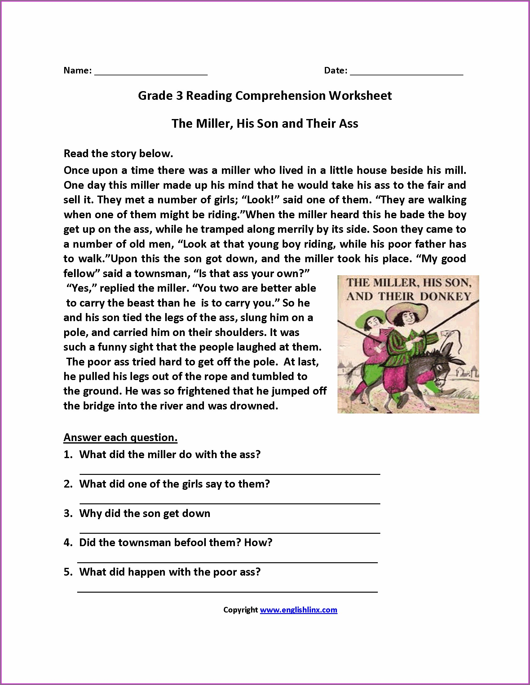 Reading Comprehension Worksheets Third Grade