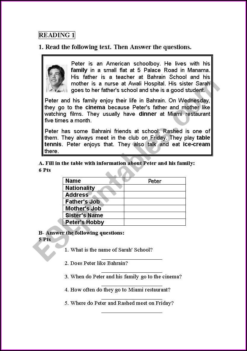 Reading For Information Worksheets