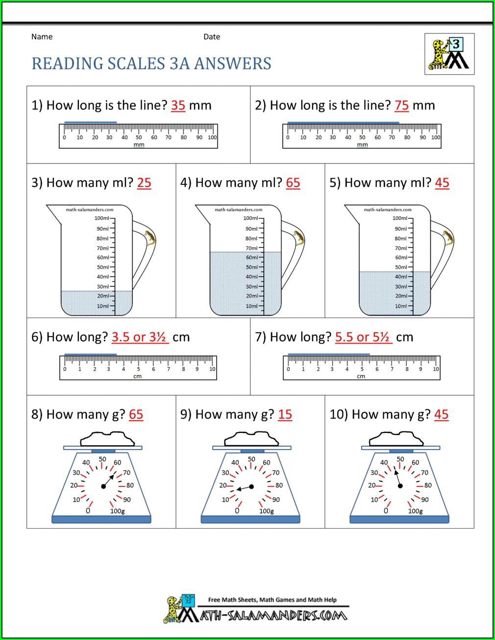 Reading Measures Worksheet Ks2