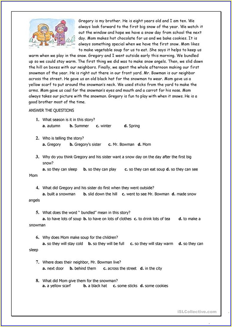 Reading Worksheet For Elementary Students
