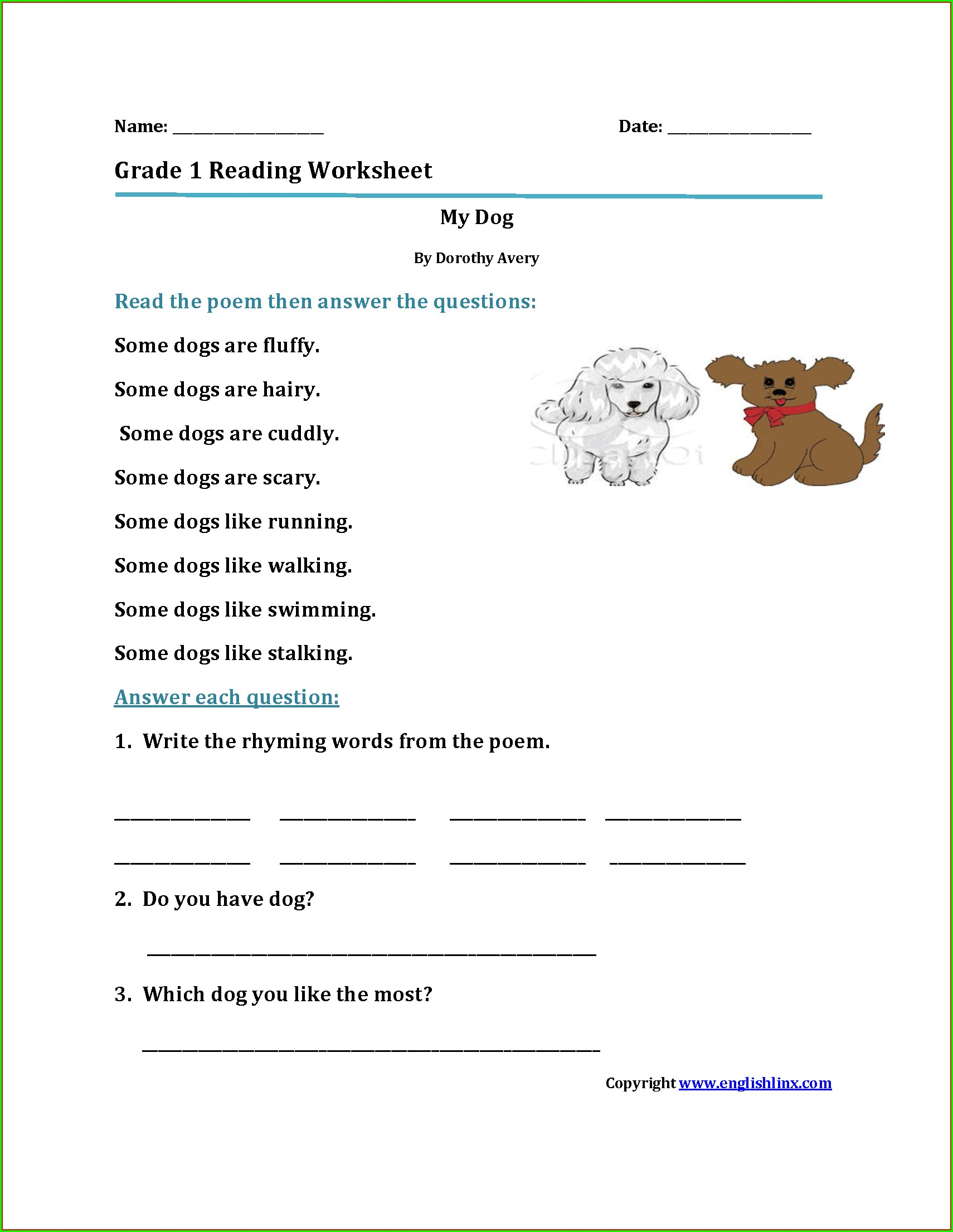 Reading Worksheet For Kinder 2