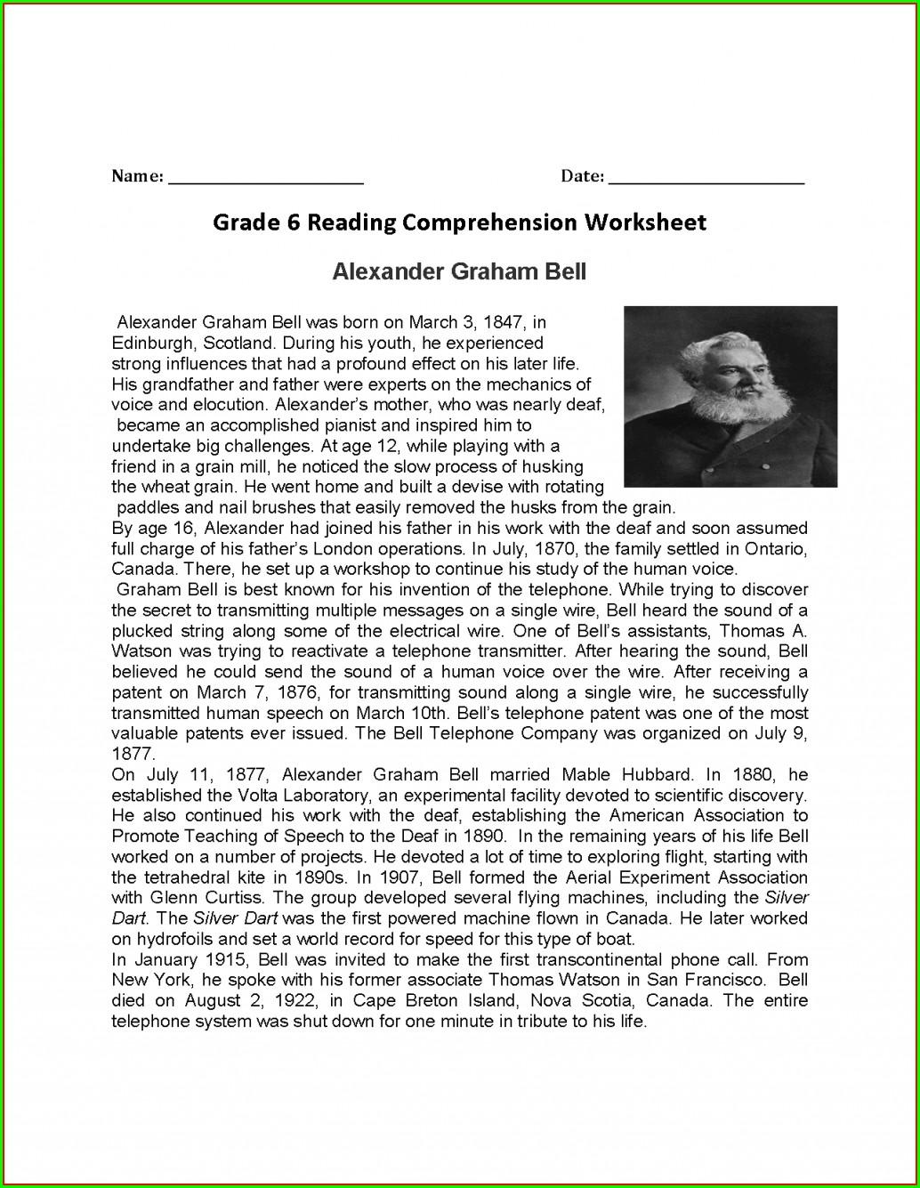 Reading Worksheet Year 6