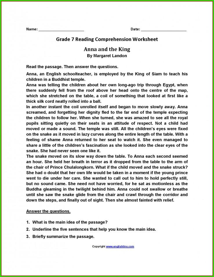 Reading Worksheet Year 7
