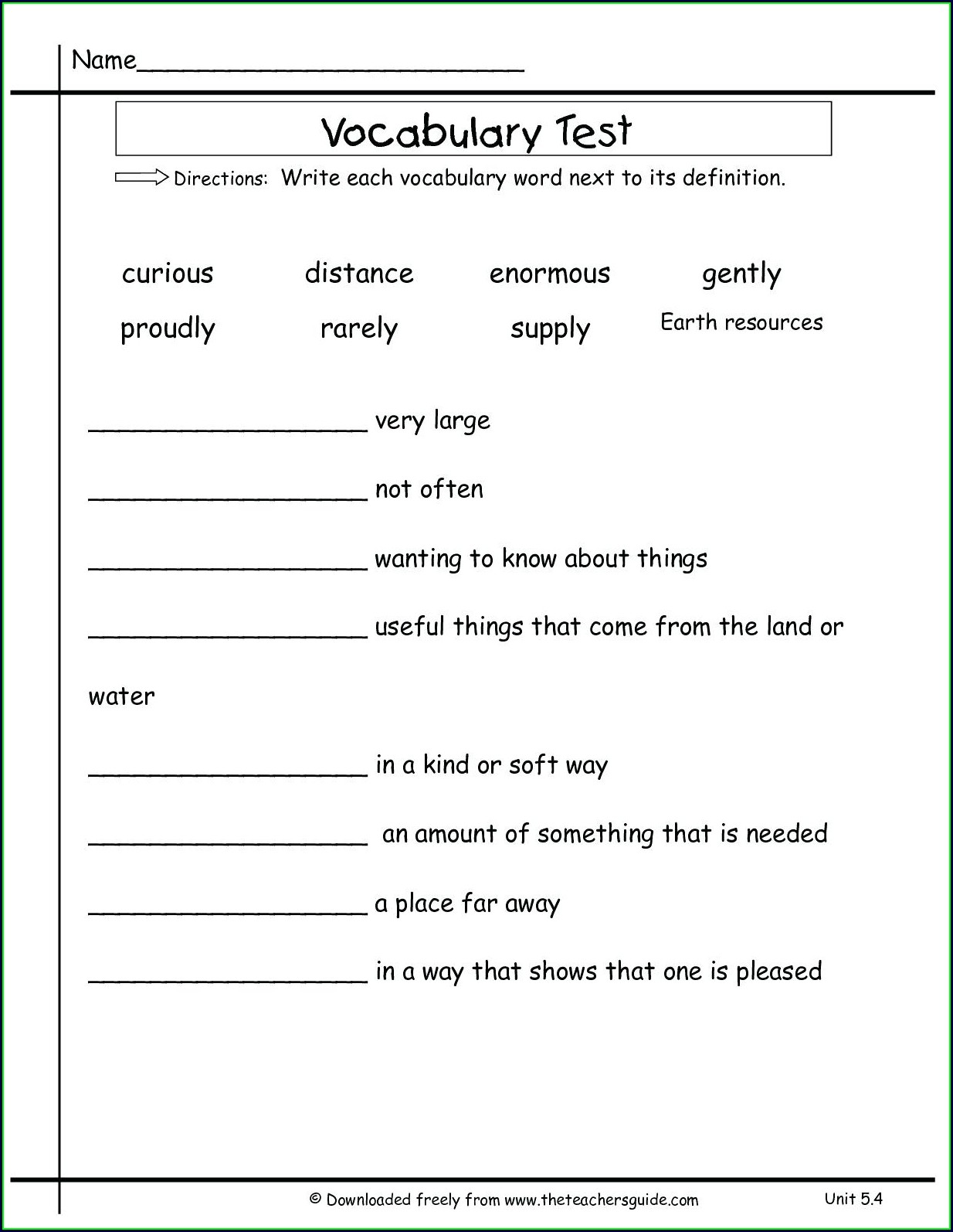 Recognizing Math Vocabulary And Definitions Worksheet
