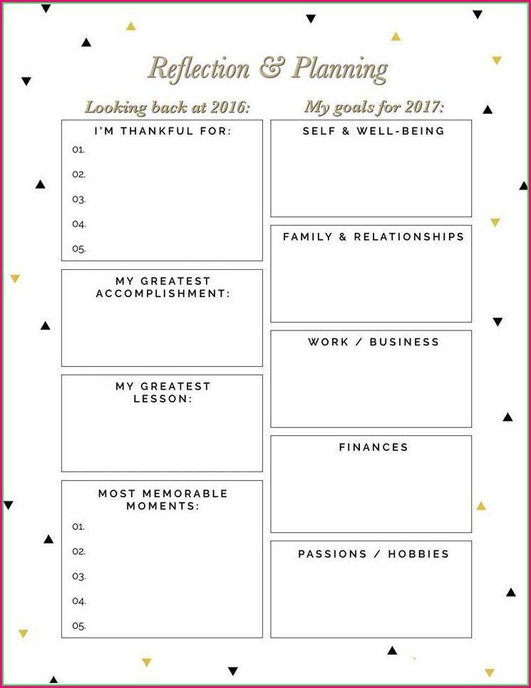 Reflection And Goal Setting Worksheet