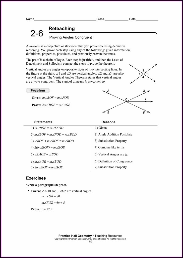 Reteaching Worksheet Connecting Algebra To Proofs Answers