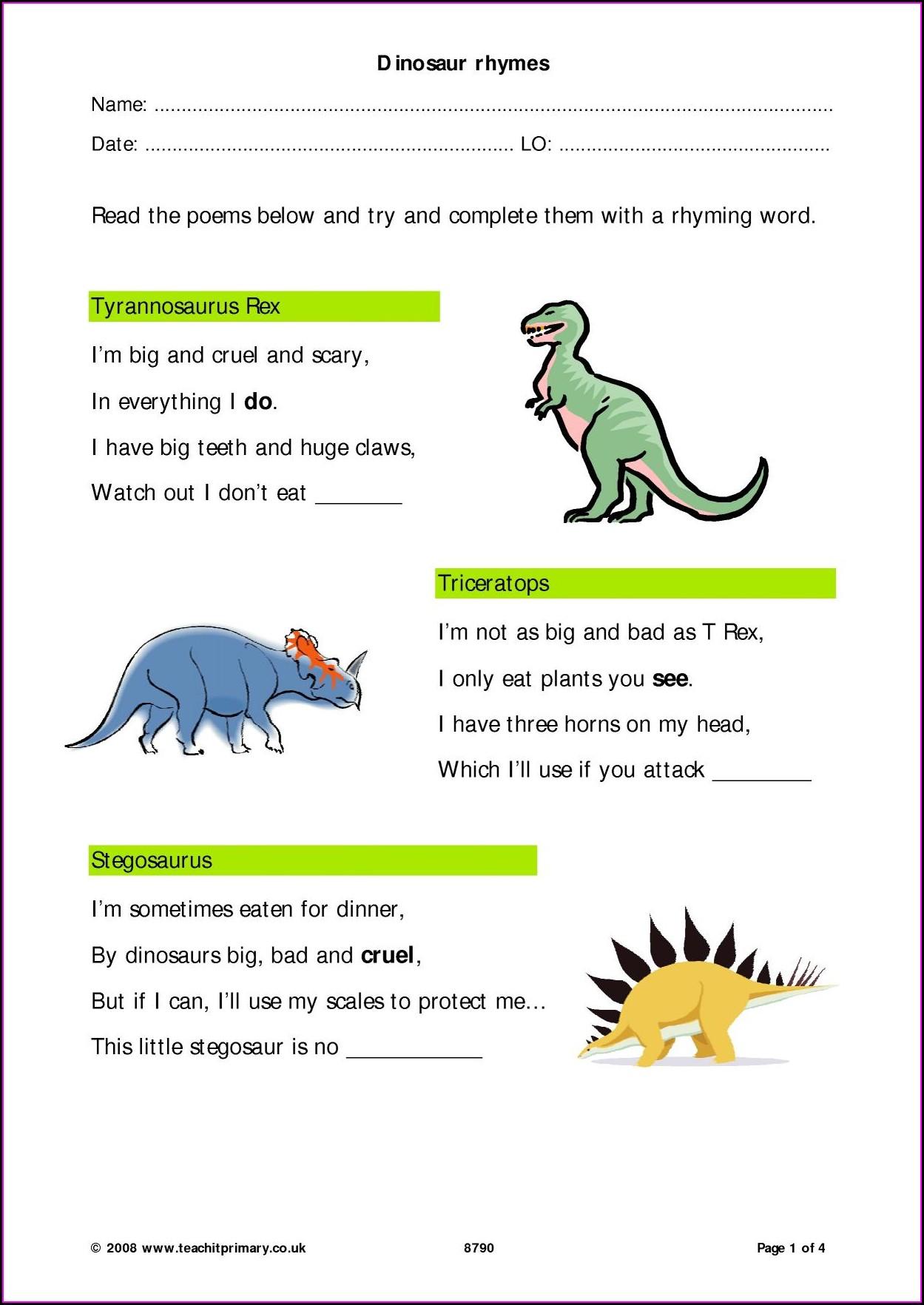Rhyming Words Worksheet Eyfs