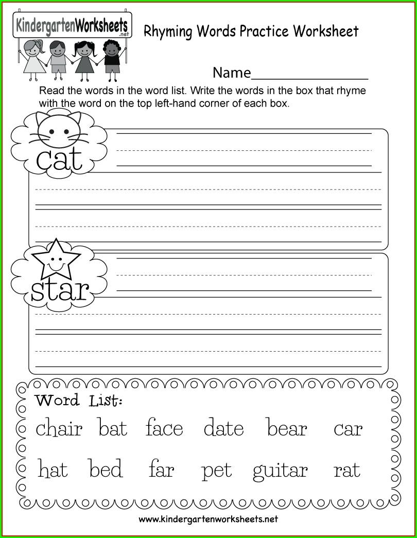 Rhyming Words Worksheet Printable