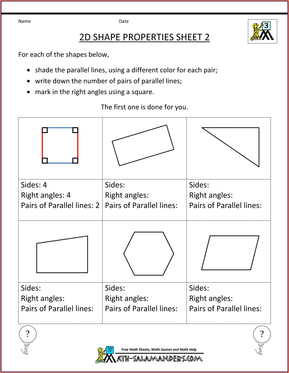 Right Angles Worksheet Grade 3