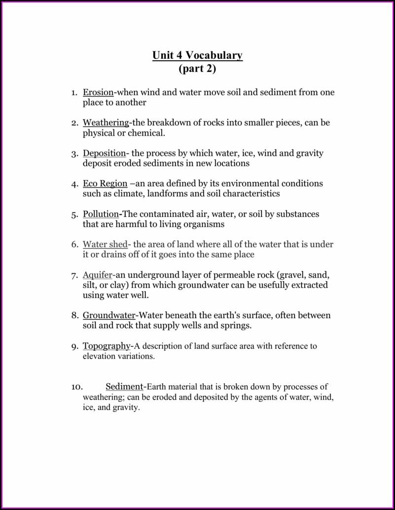 Rock Cycle Vocab Worksheet