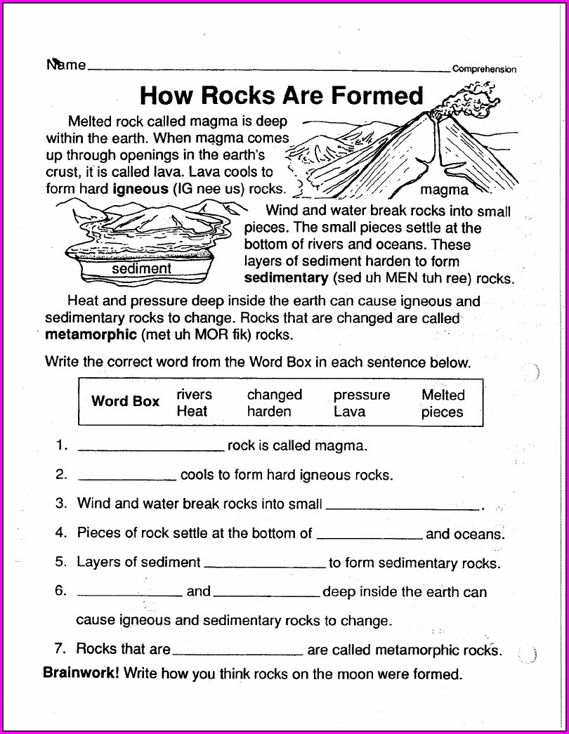 Rock Cycle Worksheet 6th Grade Pdf