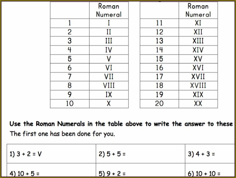 Roman Numbers 1 To 20 Worksheet