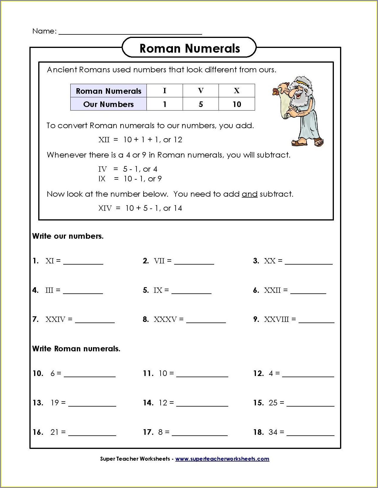Roman Numeral Addition Worksheet