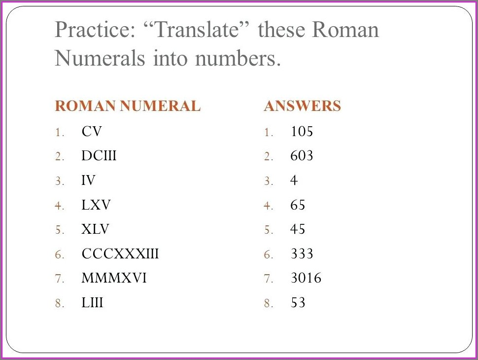Roman Numeral Review Worksheet