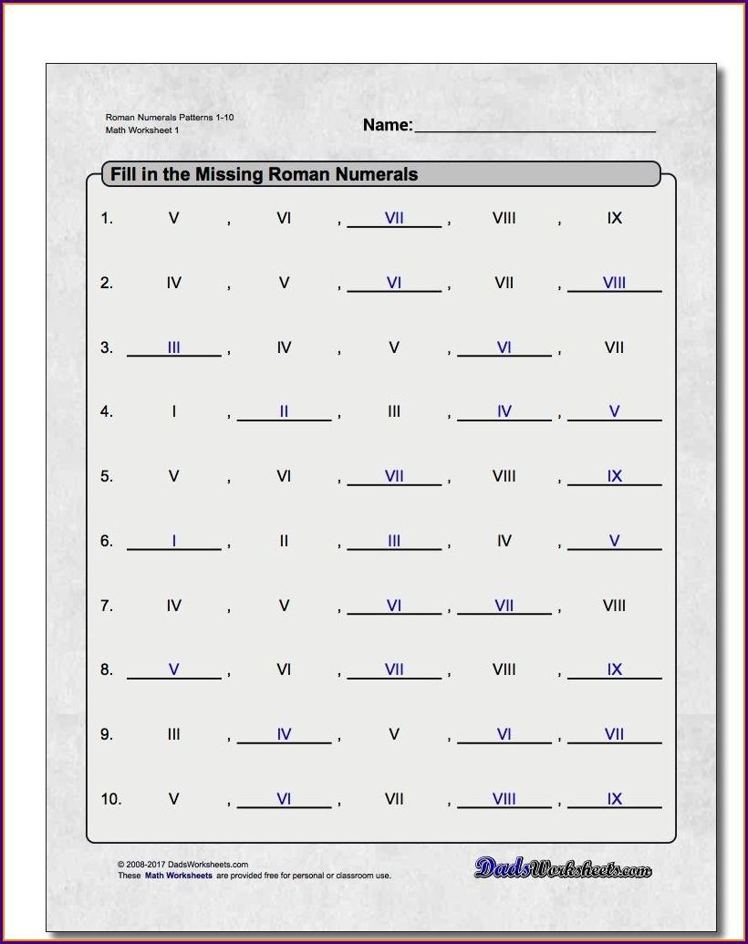Roman Numeral Sums Worksheet