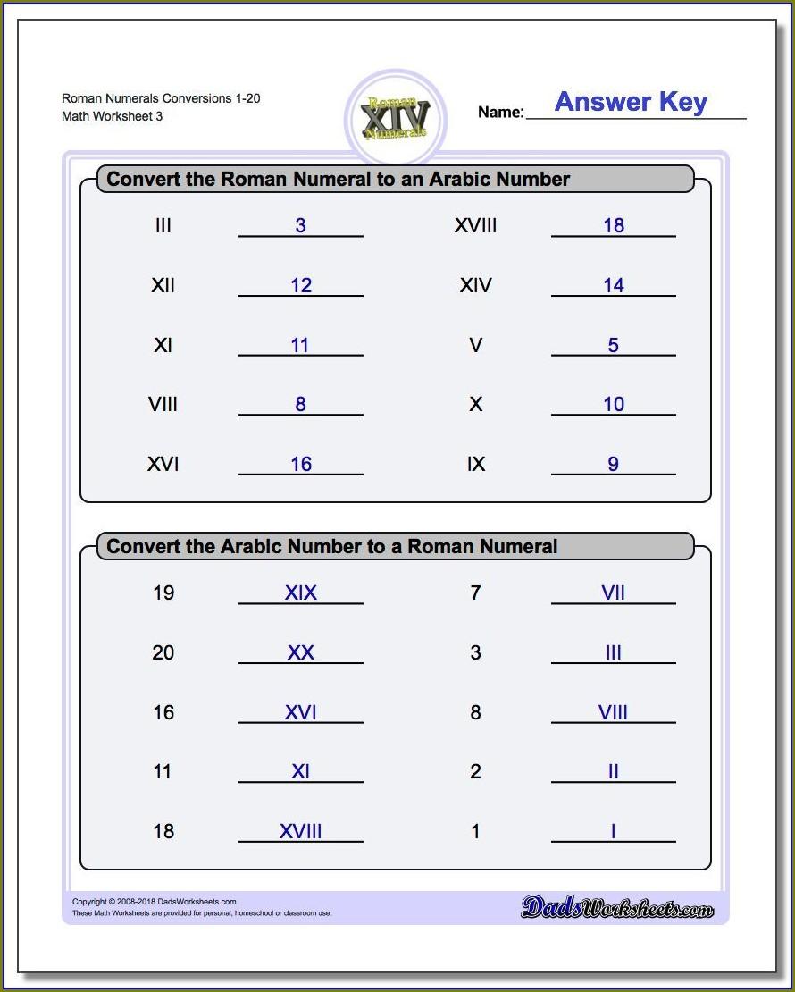 Roman Numerals Conversion Worksheet