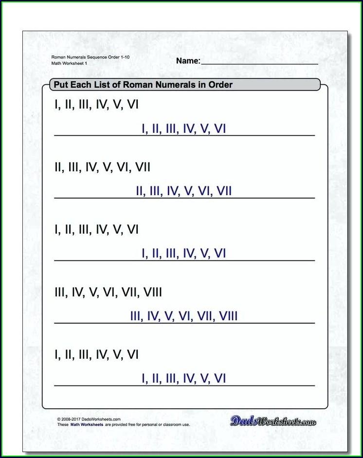 Roman Numerals Dates Worksheet