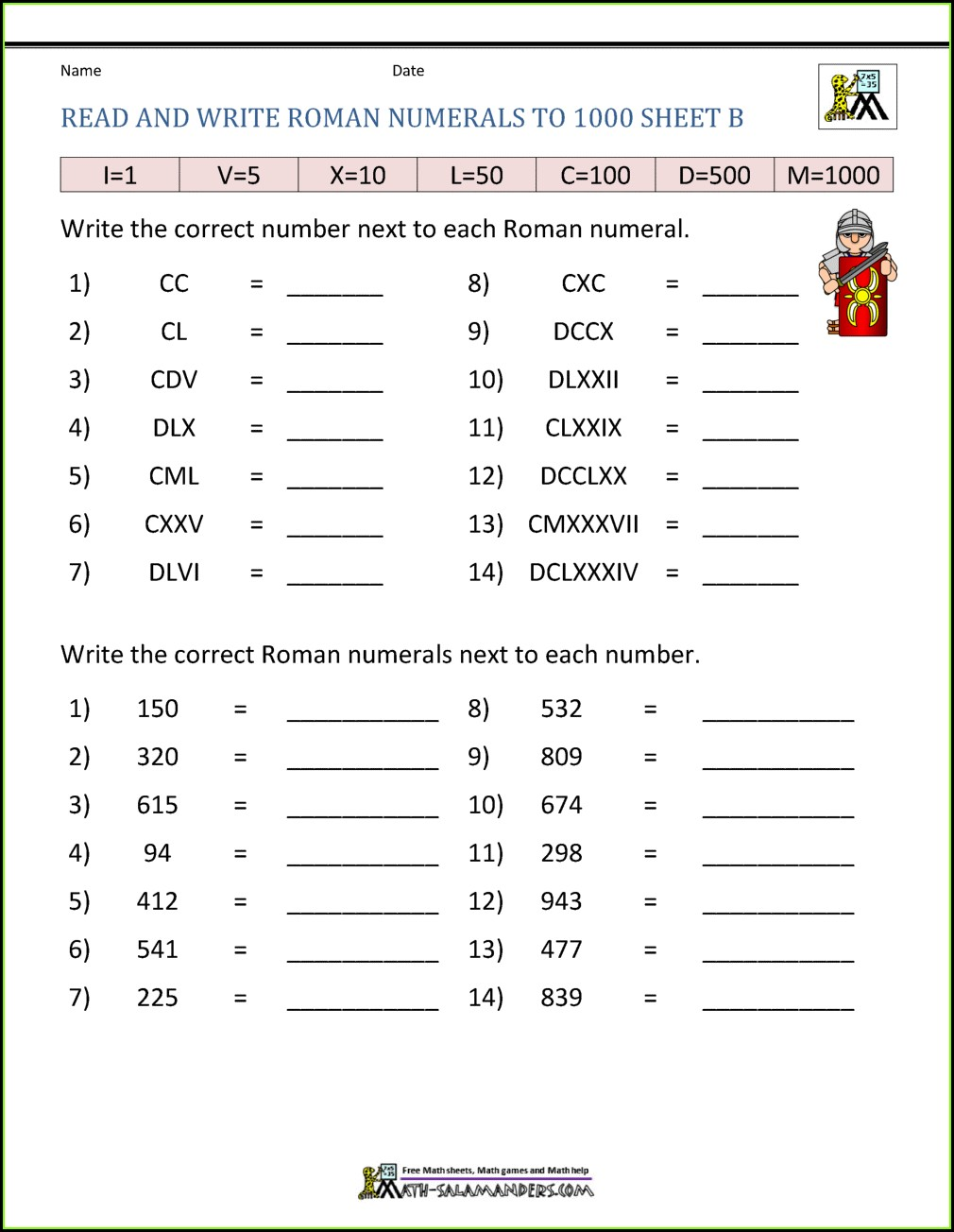 Roman Numerals Worksheet For Class 3