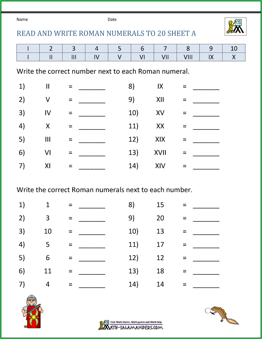 Roman Numerals Worksheet For Kinder