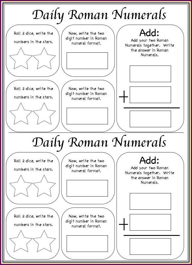Roman Numerals Worksheet Free Printable