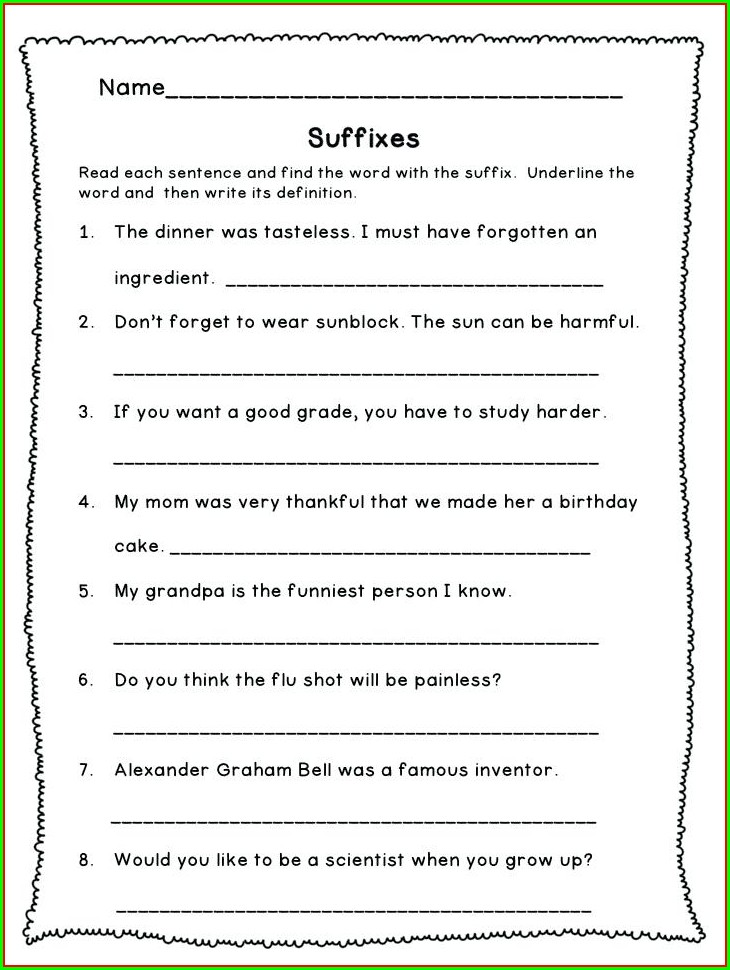 Root Words Prefixes And Suffixes Worksheets 3rd Grade