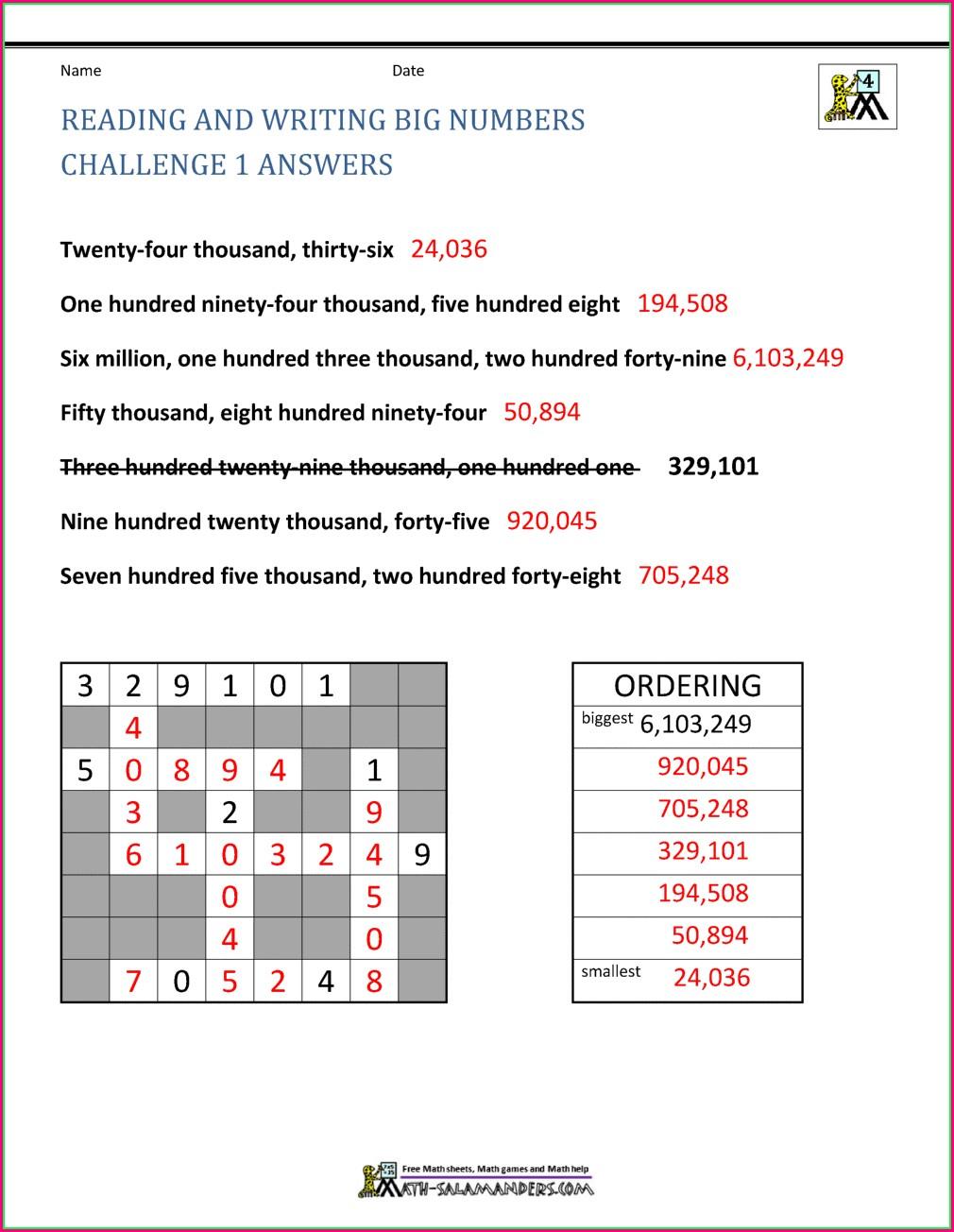 Rounding Big Numbers Worksheet