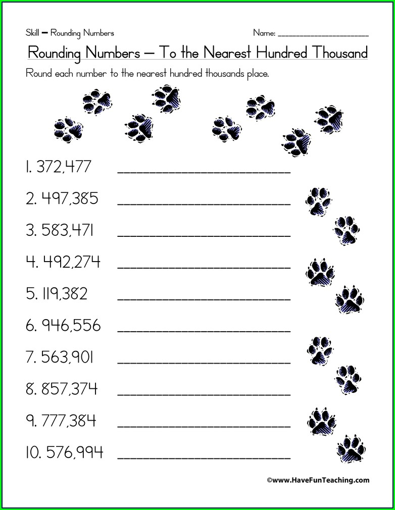 Rounding Numbers Thousands Worksheets
