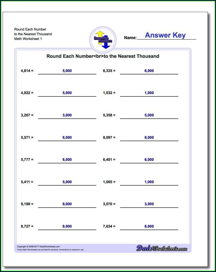 Rounding Numbers Worksheets Online