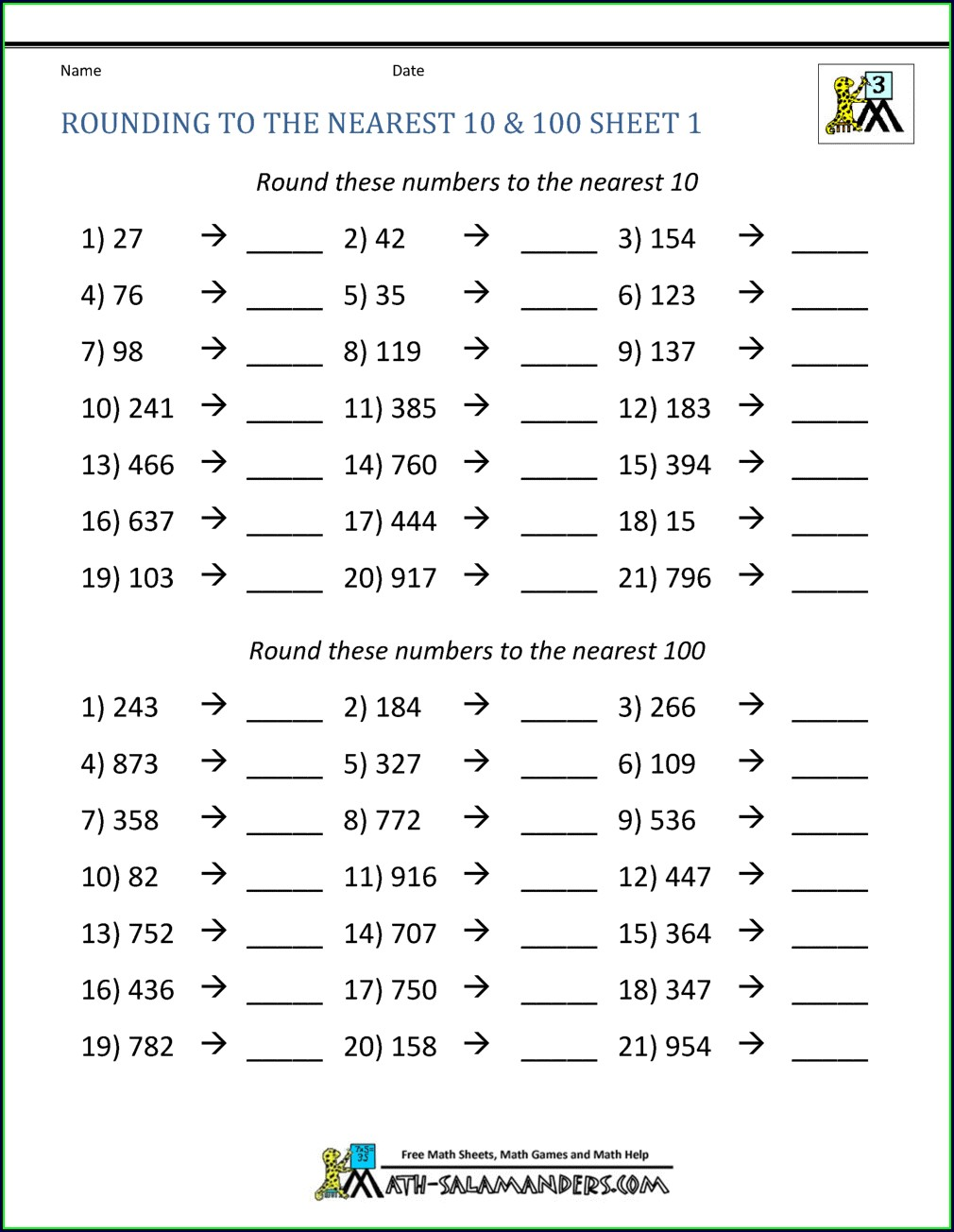 Rounding Off Numbers Worksheets Grade 5 Pdf