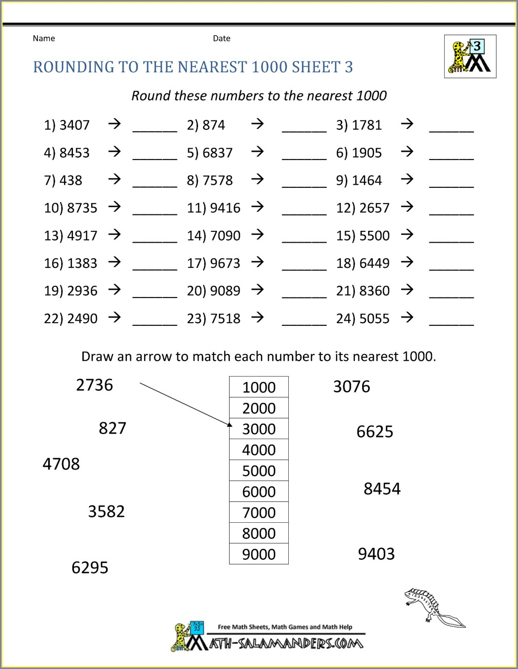 Rounding Off Whole Numbers Worksheet Pdf