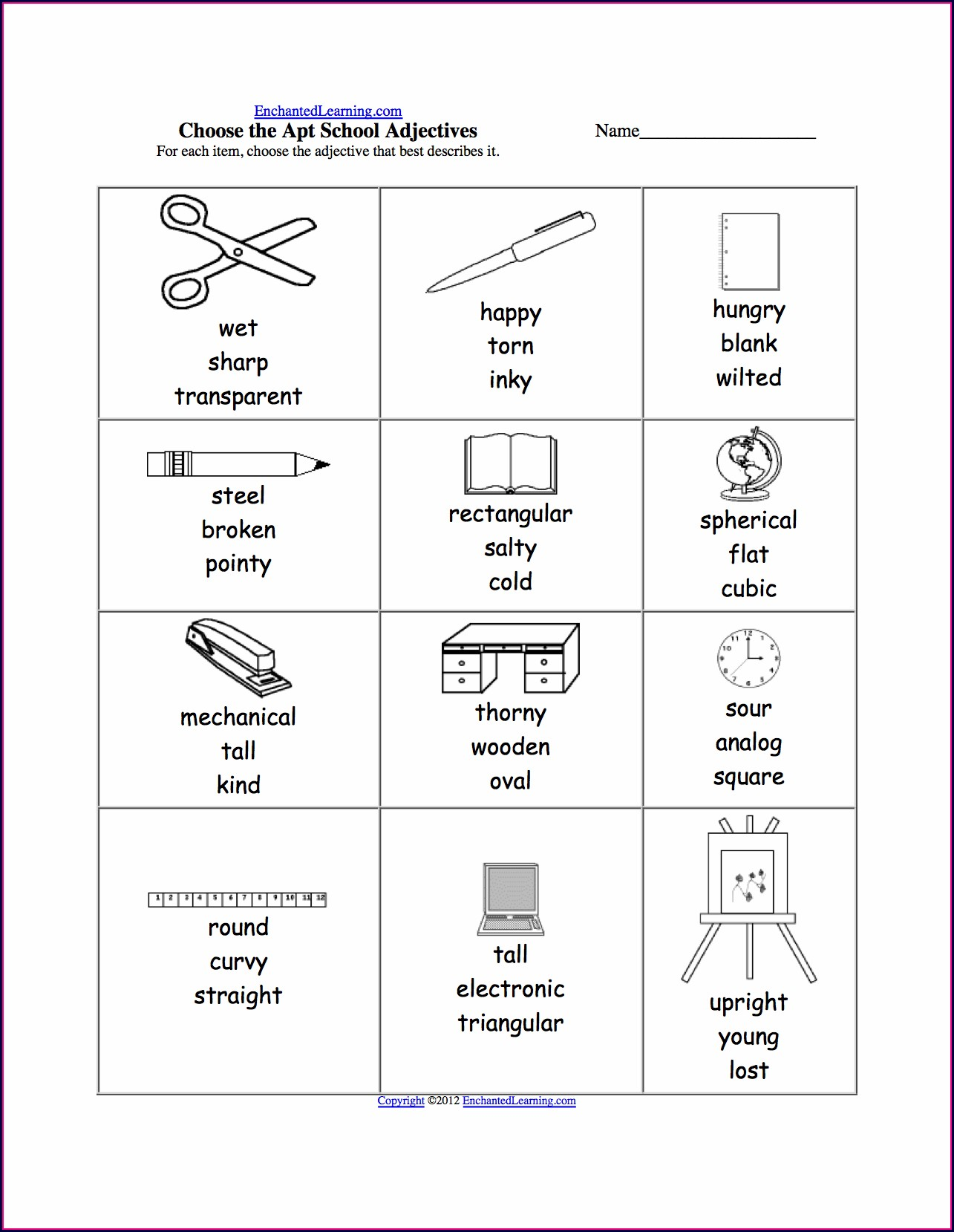 School Items Worksheet Kindergarten