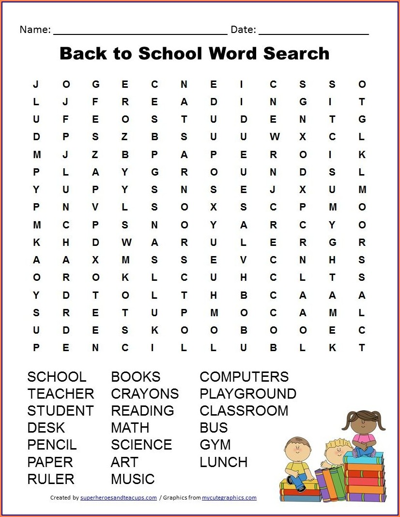School Printable School Word Search For Kids