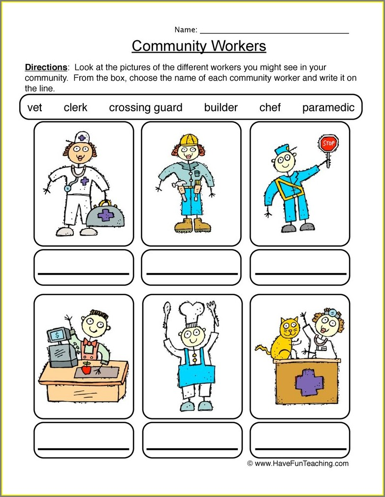 School Workers Worksheet For Kindergarten