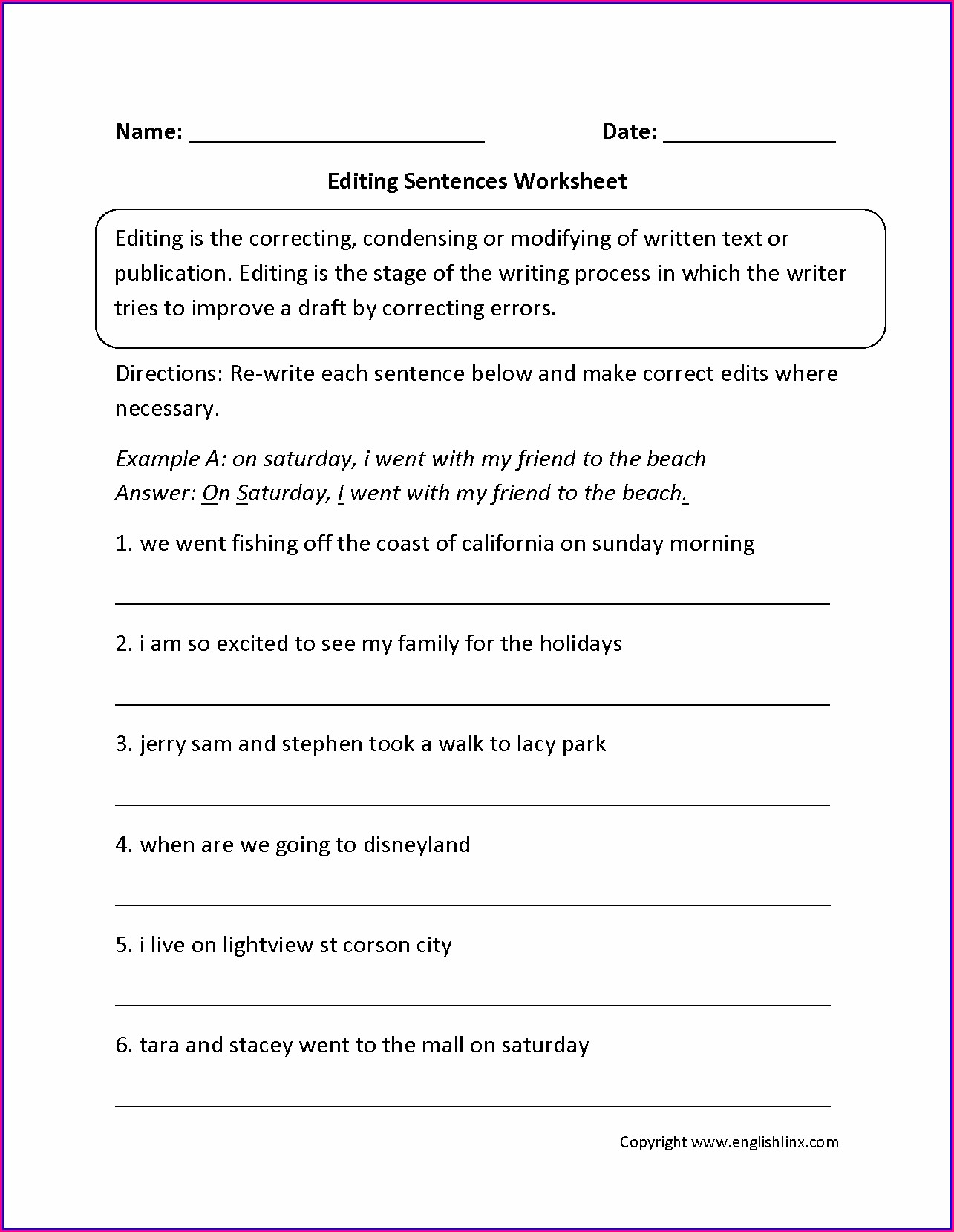 School Worksheets For 6th Graders