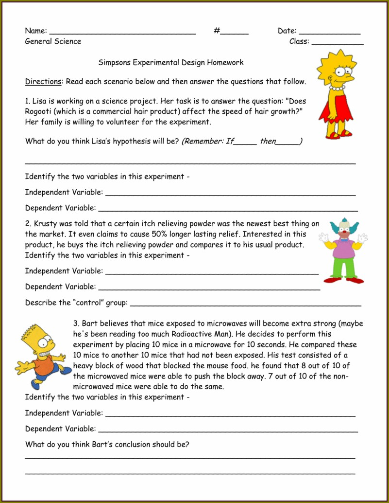 Science Variables Worksheet With Answers